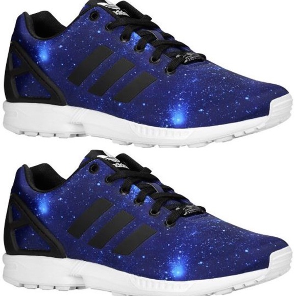 new product b52d9 ed34b blue adidas galaxy zx flux men sneaker